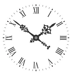 elegant clock face with roman numerals and tick vector image