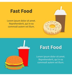 Fast food banner set Hamburger soda with straw vector image