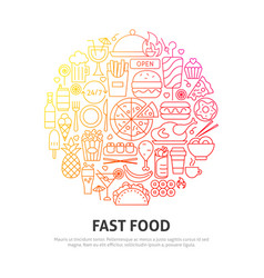 fast food circle concept vector image