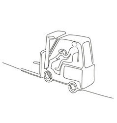 Forklift truck continuous line vector