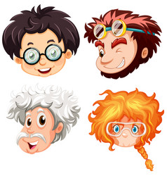 four heads people with glasses vector image