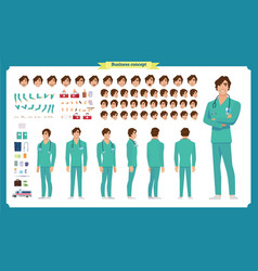 front side back view animated character doctor vector image