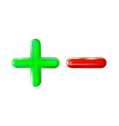 Glossy 3d plus and minus sign icon green red vector