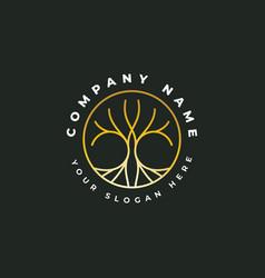 golden tree logo design vector image