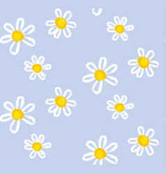 hand drawn chamomile flowers seamless pattern vector image