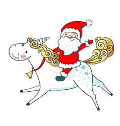 Hand drawn cute unicorn and santa claus vector