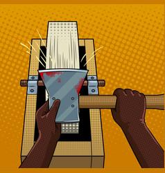 Hands sharpen ax on grindstone pop art vector