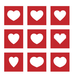 heart icons and symbols for social media like and vector image