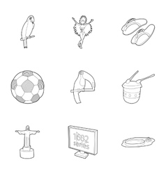 Holiday in Brazil icons set outline style vector