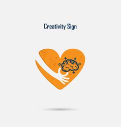 Human handlight bulb and heart logo design vector