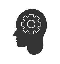 human head with cogwheel inside glyph icon vector image