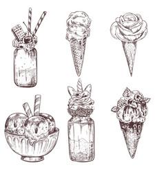 ice cream of frozen creamy desserts vector image