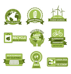Icons for earth day and save planet nature vector