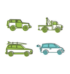 jeep icon set color outline style vector image
