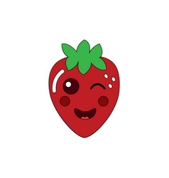 kawaii strawberry fruit cartoon character vector image