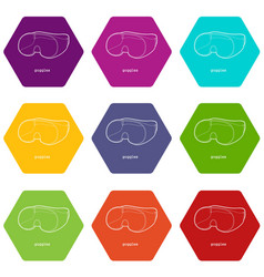 Laboratory goggles icons set 9 vector