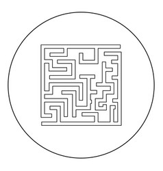 Labyrinth maze conundrum black icon in circle vector