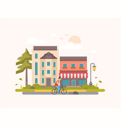 Landscape with a cafe - modern flat design style vector