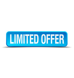 Limited offer blue 3d realistic square isolated vector