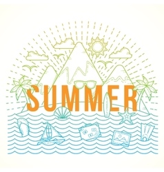 Line Style Flat Color Summer vector image