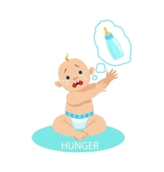 Little Baby Boy In Nappy Is HungryAnd Needs A vector