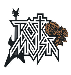 Logo rock music with roses and guitar vector