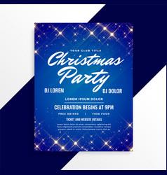 lovely sparkles christmas flyer on blue background vector image