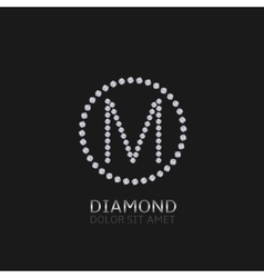 M letter with diamonds vector