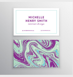 Marbling business card vector