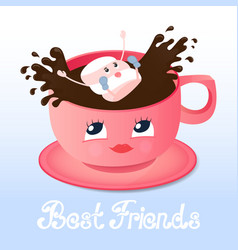 marshmallow falls into a coffee friendship day vector image