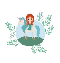 mermaid with unicorn in the camp vector image