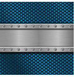 Metal rivetted plate on blue perforated background vector