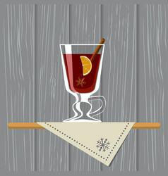 Mulled wine wine glass with mulled wine on tray vector
