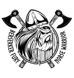 Norse warrior berserker viking head shield vector