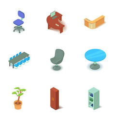 Office premise icons set isometric style vector