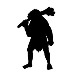 Ogre silhouette monster villain fantasy vector