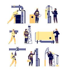oil industry petroleum engineers oilmen working vector image