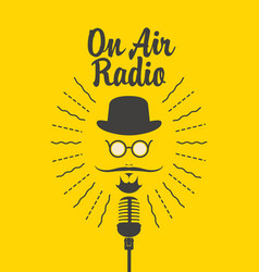 On air radio banner with microphone and man face vector