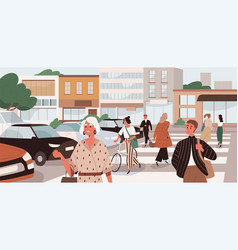 People crossing road at uncontrolled pedestrian vector