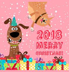 Pink greeting dog christmas 2018 card vector