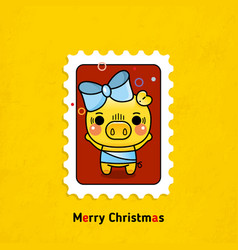 Postage stamps pigs merry christmas vector