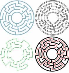 Radial circle maze vector