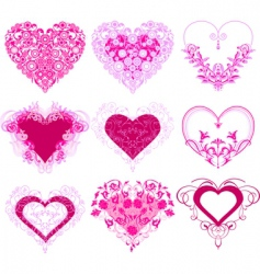 red hearts with filigree ornament vector image vector image