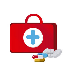 Red suitcase health with treatment icon vector