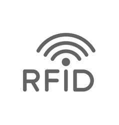 rfid with radio wireless waves line icon vector image