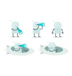 Robot alien character with spyglass set vector