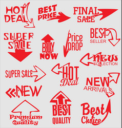 sale stickers with arrows modern design collection vector image