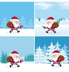 Santa Claus in forest set vector image