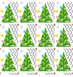seamless pattern christmas new year trees winter vector image