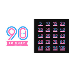 Set anniversary logotype colorful anniversary vector
